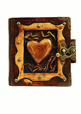 Embossed Heart Vintage Handmade Refillable Leather Journal / Diary / Notebook