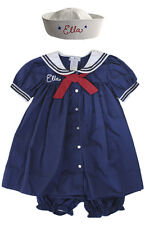Baby Toddler Sailor Girl Dress Set with Hat Nautical PERSONALIZED FREE
