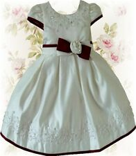 NEW IVORY/WINE FLOWER GIRL BRIDESMAID DRESS ONLY £16.99 FREE BOX AGE 9-12 MONTH