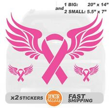 """3 Breast Cancer Ribbon Vinyl Car Decal Stickers 20""""x14"""" - Style 07. PR-007"""