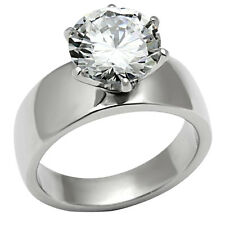 Solitaire Round Cut Stainless Steel CZ Engagement Ring Band Women's
