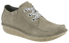 Clarks Womens Casual Shoe Funny Dream Lace Up Light Grey Suede Leather
