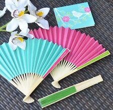 Personalized Colored Paper Hand Fan Beach Spring Outdoor Wedding Favor 17 Colors