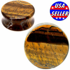 PAIR- TIGER EYE-Organic Flesh Tunnels- Stone Ear Plugs-Ear Gauges-EAR TUNNEL