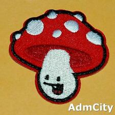 Mushroom Polka Dot Smile Face Iron Sew on Patch Applique Badge Embroidered.