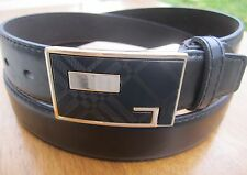 New Mens Casual Dress Jeans Leather Black Belt Wide M L XL Silver Fashion Buckle