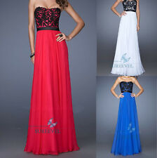 Stock Long Chiffon Lace Formal Prom Evening Dresses Party Gowns Bridesmaid Dress