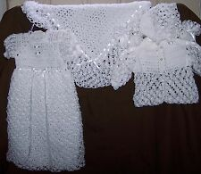 White Elegant Crocheted Baby Christening Gown;(Sweater,Hat & Booties)or Afghan