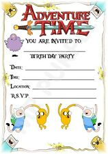 A5 CHILDRENS KIDS CARTOON PARTY INVITATIONS X 12 - ADVENTURE TIME INVITES