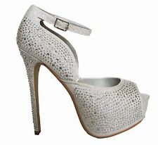 Silver Rhinestone Peep toe Hidden Platform Bridal Wedding Heels Pumps Shoes