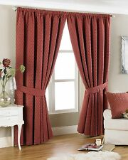 Diamond Chenille Luxury Burgundy Pair of Readymade Pencil Pleat Curtains