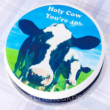 """Happy 40th Birthday Cow  Cake Topper -  Edible Icing or Wafer Cake Topper - 7.5"""""""