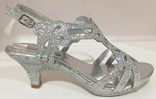 Wedding Prom Open Toe Slingback Kitten Low Heel Glitter Rhinestone Shoe Silver