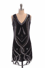 UK6 TO UK24 Black Silver Vintage 1920s Flapper Gatsby Downton Abbey Beaded Dress