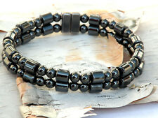 Men's Magnetic Hematite Bracelet Anklet Drums Rounds 2 row FREE SHIPPING