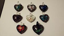 lampwork Murano art glass beaded flower heart pendant necklace (12 styles)