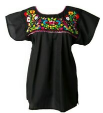 Mexican Embroidered BLOUSE ANY COLOR PUEBLO Womens Oaxaca Top S M L XL 2XL 3XL