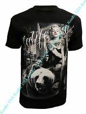 Tattooed Marilyn Monroe with California Bear Street Wear Mens Graphic T Shirt