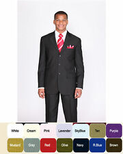 New Men's Basic Suit Single Breasted 3 Button Many Colors 802 with size 38R-60L