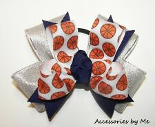 18 pcs Wholesale Lot Basketball Team Hair Bows Blue Ribbon Girls Youth Accessory