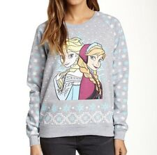 Frozen Juniors Ugly Christmas Sweater Sweatshirt Gray Heather Elsa Long Sleeve