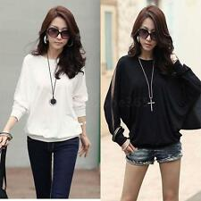 Womens Casual Batwing Long Sleeve Tops T-Shirt Blouse Dolman Lace Loose Top