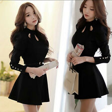 Womens Elegant Korean Spring Fashion Slim Autumn Long Sleeve Black Mini Dress