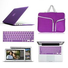 "Purple 3in1 Laptop Hard Sleeve Case keyboard Cover for MacBook Air 11/13 15"" Pro"