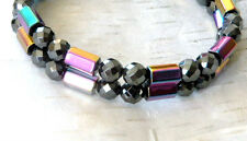 Men's Magnetic Hematite Bracelet Anklet 6 sided RAINBOW 2 row FREE SHIPPING