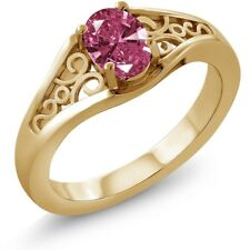 0.76 Ct Red 925 Yellow Gold Plated Silver Ring Made With Swarovski Zirconia
