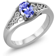 0.75 Ct Oval Blue Tanzanite 925 Sterling Silver Ring
