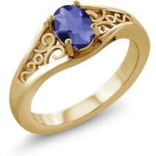 0.65 Ct Oval Checkerboard Blue Iolite 18K Yellow Gold Ring