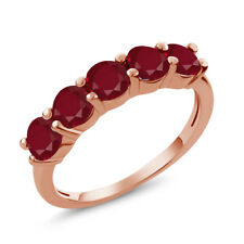 1.50 Ct Round Red Ruby 925 Rose Gold Plated Silver 5-Stone Band Ring