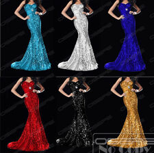 Sexy Mermaid Long Sequins Evening Party Dresses Pageant Ceremony Dress Ball Gown