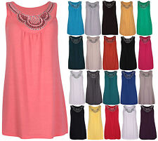 New Ladies Long Beaded Sleeveless Stretch T-Shirt Womens Stud Vest Top Plus Size