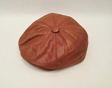 MENS GATSBY HAT IN BROWN FAUX LEATHER 8 PANEL NEWSBOY BAKER BOY CAP BUTTON TOP
