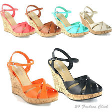 Women's Fashion Ankle Strap Open Toe Wedge Heel Platform Sandals Shoes 6 colors