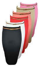 NEW LADIES BELTED PLAIN PENCIL SKIRTS LONG BODYCON STRETCH OFFICE SKIRT 8-14