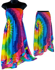 Rainbow Swirl Convertible Multi-Color Tie-Dye Sundress or Skirt-NEW-S, M, L, XL