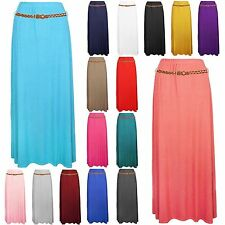 Womens Stretchy Summer Gypsy Long Jersey Uneven Plain Belted Maxi Dress Skirt