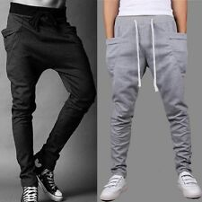 Mens Skinny TRACK PANTS Slim Cuff Trousers Gym Slacks Plain Sport Tracksuit Pant