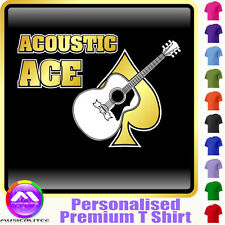 Acoustic Guitar Ace Dia - Personalised Music T Shirt 5yrs - 6XL by MusicaliTee