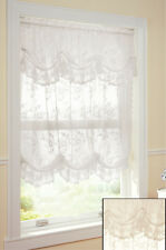 Adjustable Balloon Lace Curtain w/Valance Shade Scalloped Window Privacy Panel