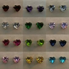 All Birthstone Colors - Heart-Shaped 5mm Earrings in 100% 925 Sterling Silver!