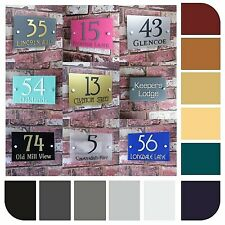 Personalised Door Number House Sign Street Address Plaque Modern Glass Rectangle