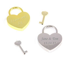 Personalised Engraved Padlock Heart Gold or Silver Locked In Love