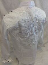 Mens House of Lords Button Down Shirt Tribal Clear Stones White Roar With Class