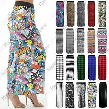 New Womens Ladies Printed Long Jersey Bodycon Elasticated Waist Gypsy Maxi Skirt