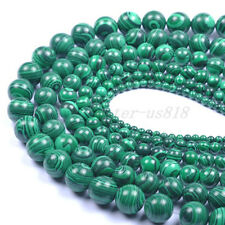 Natural Malachite Gemstone Round Loose Spacer Beads 4.6.8.10.12.14.16.18.20MM