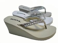 Gold Beige Silver Gray Wedge Rhinestone Flip Flops Thongs Heels Sandals Shoes